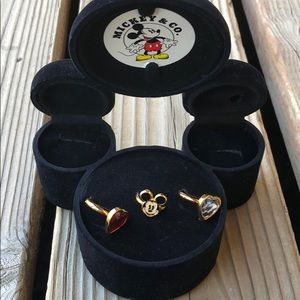 Disney RARE Mickey, Red and Clear Crystal Hearts!